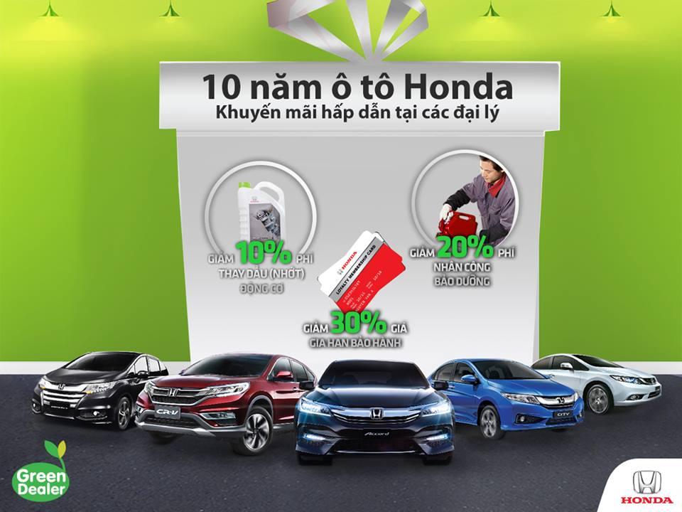 Khuyến mãi hấp dẫn nhân dịp Kỷ niệm 10 năm Ôtô Honda