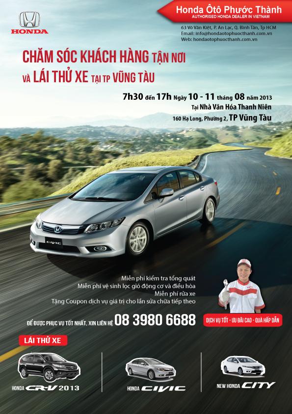 Chăm sóc khách hàng tận nơi và Lái thử xe Honda tại Vũng Tàu