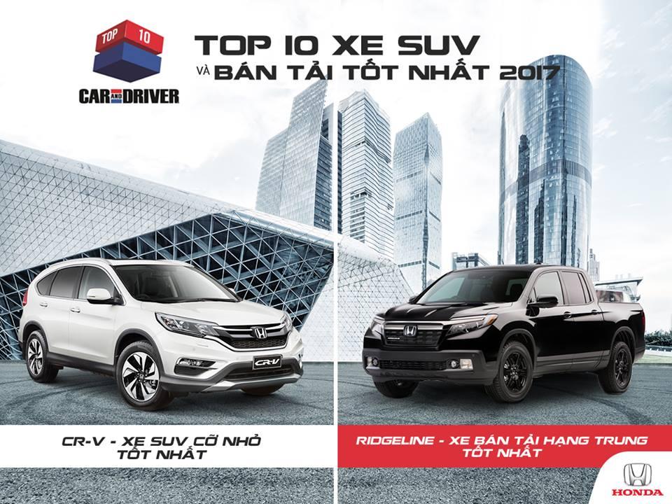 Top 10 xe SUV và bán tải tốt nhất năm 2017