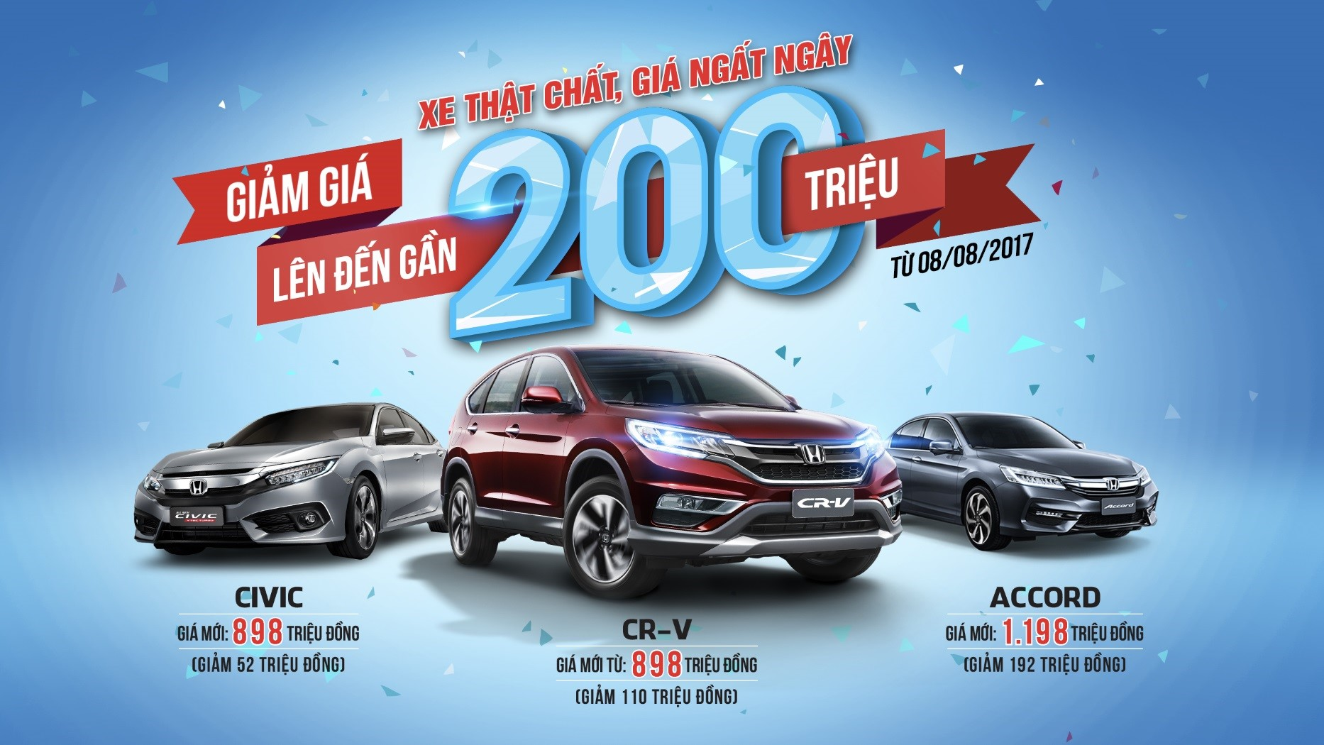 Honda Việt Nam công bố giá mới hấp dẫn cho Honda CR-V, Honda Civic và Honda Accord